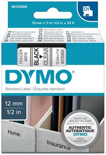 páska DYMO 45010 D1 Black On Transparent Tape (12mm)